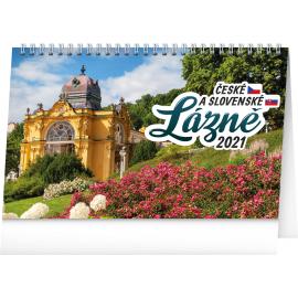 Stolový kalendár Česká a slovenská kúpeľná miesta 2021, 23,1 × 14,5 cm