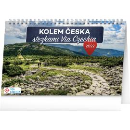 Stolový kalendár Okolo Česka chodníkmi Via Czechia 2022, 23,1 × 14,5 cm