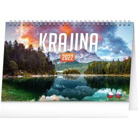 Stolový kalendár Krajina CZ/SK 2022, 23,1 × 14,5 cm
