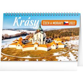 Stolový kalendár Krásy Čech a Moravy 2022, 23,1 × 14,5 cm