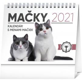Stolový kalendár Mačky – s menami mačiek SK 2021, 16,5 × 13 cm