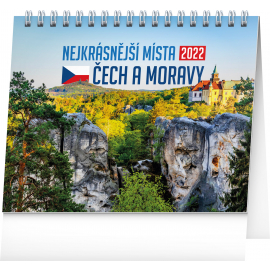 Stolový kalendár Najkrajšie miesta Čech a Moravy 2022, 16,5 × 13 cm