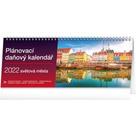 Stolový kalendár Plánovací daňový – Svetová mesta  2022, 33 × 12,5 cm