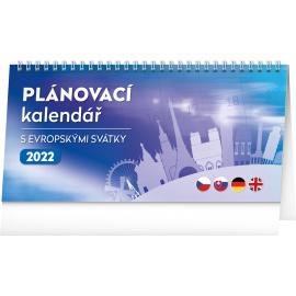 Stolový kalendár s európskymi sviatkami 25 × 12,5 cm