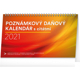 Stolový kalendár Poznámkový daňový s citátmi SK 2021, 25 × 14,5 cm