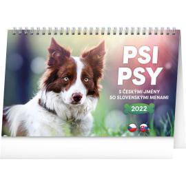 Stolový kalendár Psi – Psy CZ/SK 2022, 23,1 × 14,5 cm