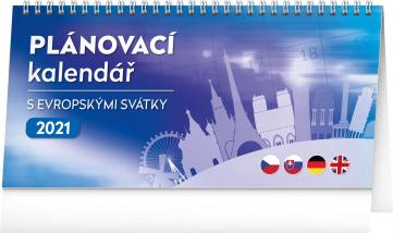Stolový kalendár s európskymi sviatky 2021, 25 × 12,5 cm