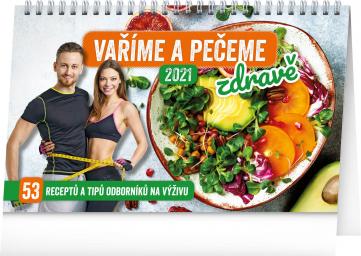 Stolový kalendár Varíme a pečieme zdravo 2021, 23,1 × 14,5 cm