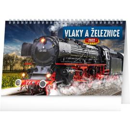 Stolový kalendár Vlaky a železnice 2022, 23,1 × 14,5 cm