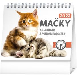 Stolový kalendár Mačky – s menami mačiek 2022, 16,5 × 13 cm
