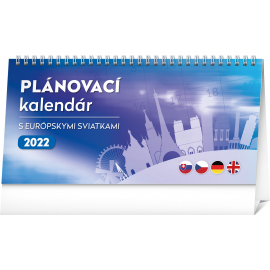 Stolový kalendár Plánovací s európskymi sviatkami 2022, 25 × 12,5 cm