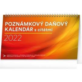 Stolový kalendár Poznámkový daňový s citátmi 2022, 25 × 14,5 cm