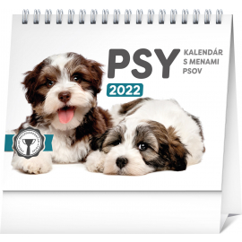 Stolový kalendár Psy – s menami psov 2022, 16,5 × 13 cm