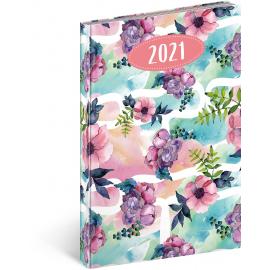 Týdenný diár Cambio Fun 2021, kvety, 15 × 21 cm