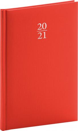 Týždenný diár Capys 2021, červený, 15 × 21 cm