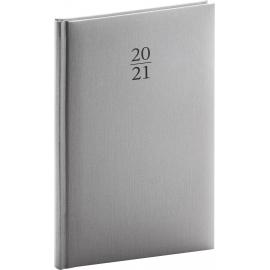 Týždenný diár Capys 2021, strieborný, 15 × 21 cm