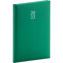 Týždenný diár Capys 2022, zelený, 15 × 21 cm