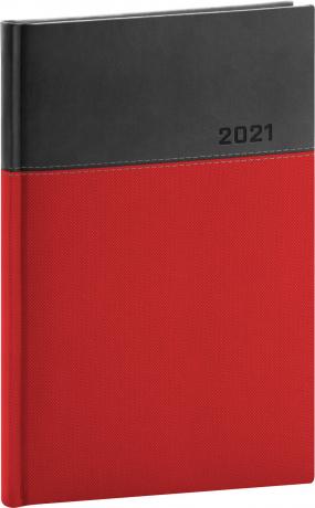 Týždenný diár Dado 2021, červeno-čierny, 15 × 21 cm