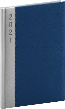 Týždenný diár Dakar 2021, strieborno-modrý, 15 × 21 cm