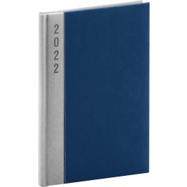 Týždenný diár Dakar 2022, strieborno–modrý, 15 × 21 cm