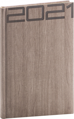 Týždenný diár Forest 2021, hnedý, 15 × 21 cm