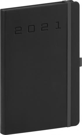 Týždenný diár Nox 2021, čierny-čierny, 15 × 21 cm