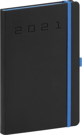 Týždenný diár Nox 2021, čierny-modrý, 15 × 21 cm