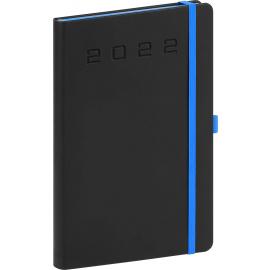 Týždenný diár Nox 2022, čierny–modrý, 15 × 21 cm