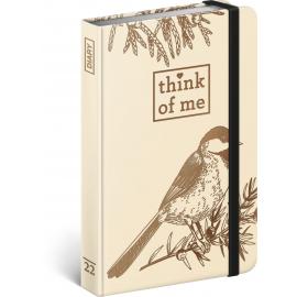 Týždenný diár Vtáky – Think of me 2022, 11 × 16 cm