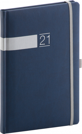 Týždenný diár Twill 2021, modro-strieborný, 15 × 21 cm