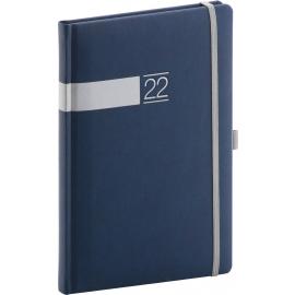Týždenný diár Twill 2022, modro–strieborný, 15 × 21 cm