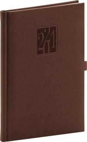 Týždenný diár Vivella Classic 2021, hnedý, 15 × 21 cm