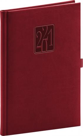 Týždenný diár Vivella Classic 2021, vínový, 15 × 21 cm