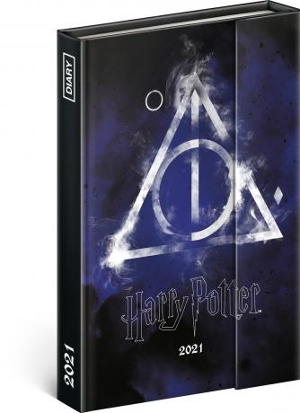 Týždenný magnetický diár Harry Potter – Deathly Hallows 2021, 11 × 16 cm