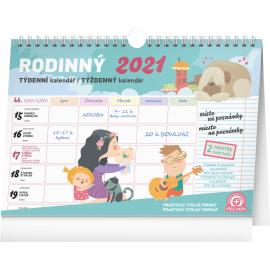 Týždenný rodinný plánovací kalendár s háčikom CZ/SK 2021, 30 × 21 cm