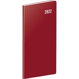 Vreckový diár Vínový 2022, plánovací mesačný, 8 × 18 cm